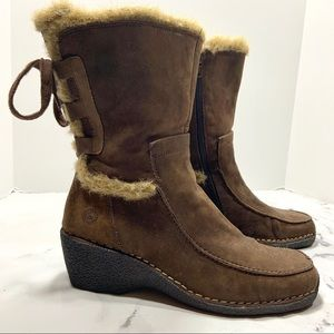 Earth Spirit Faux Fur Brown Mid Calf Boots 9.5